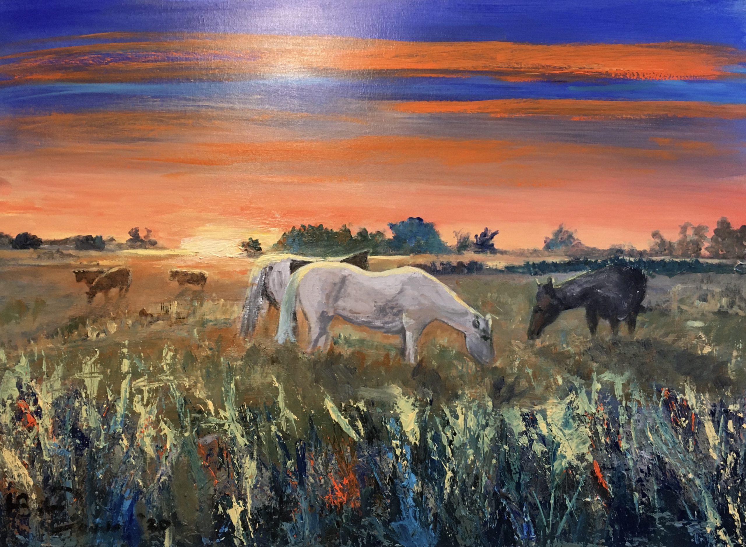Paarden bij zonsondergang achter Sandebuur